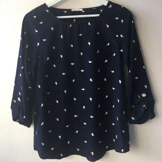 Navy Elephant Blouse