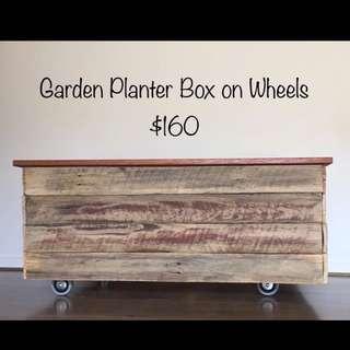 Reclaimed Timber Garden Planter Box On Wheels