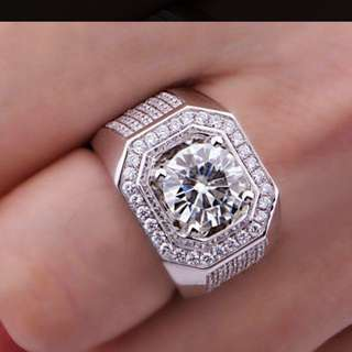 10k White Gold Filled With Topaz And Fake Diamonds Size 11