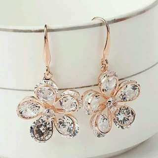Rose Gold Plated Clear Cubic Zirconia Drop Earrings
