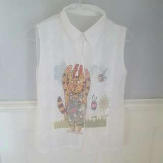 Womens Lace Cat Deer Cartoon Illustration Sleeveless Shirt