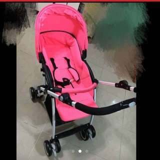 90% New Vovo Baby Stroller (pink Color)