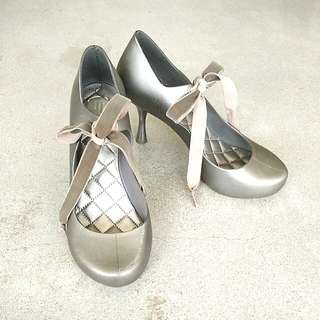 Melissa Original - Silver Heels With Velvet Bow