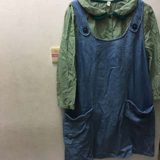 a la sha 背心裙+襯衫 成套販賣