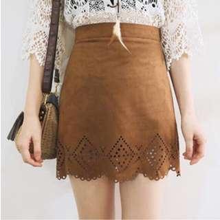 Laser Cut Suede A-Line Skirt