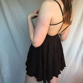 UO Criss-cross Black Dress