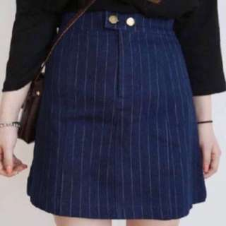 Pinstripes Navy A Line Highwaisted Button Skirt