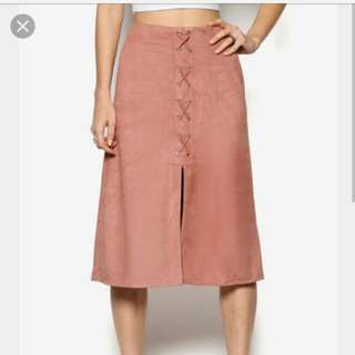 (Incl Post) Lace Up A-Line Skirt