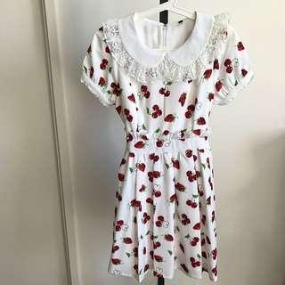 White Cherry & Strawberry Print Tie Back Dress