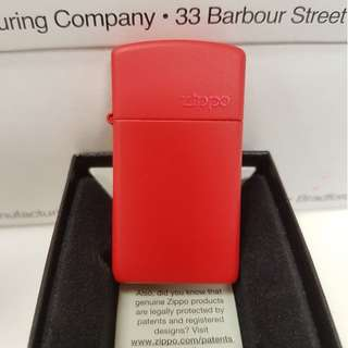 Authentic Zippo Lighter - SLIM Red Matte with ZIPPO Logo 1633ZL