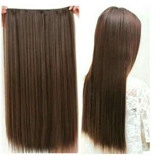 """Stylish fashion Clip in long straight hair extension wigs hairpiece 20 x 60 cm matt brown"