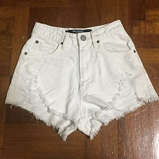 Factorie High Waisted Shorts - White