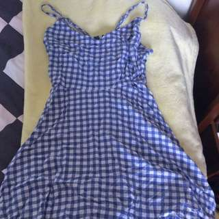 Checkered Blue Dress