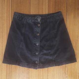 Top Shop Petite UK 10 black washed denim button up skirt, biker, rock chick