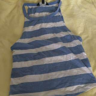Low Arm Blue And White Striped Shirt