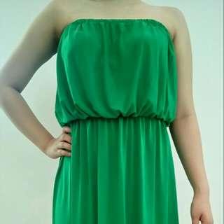 Green Peacock Tube Dress
