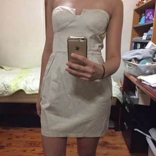 FORCAST | Beige Strapless Dress