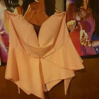 strapless peach top