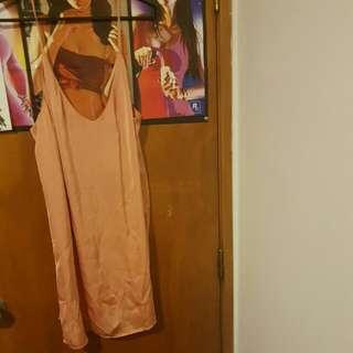 rose fold satin silk dress