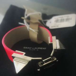 Negotiable: Yves Saint Laurent (YSL) Leather Cuff Bracelet in Neon Pink