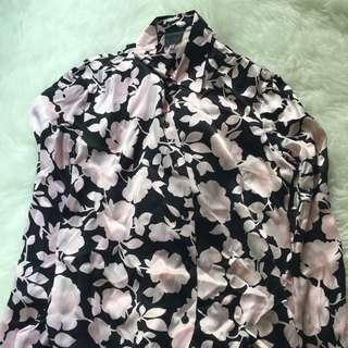 Versus By Versace Pink Floral Silk Blouse