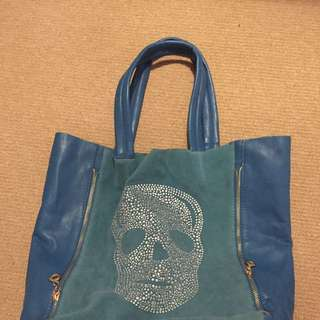 Blue Diamanté Skull Bag