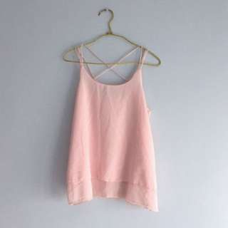 BN pastel pink criss cross chiffon flutter cami spag top
