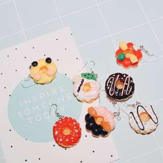 原宿 可愛甜甜圈耳環