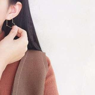 韓國純銀愛心鏤空耳環