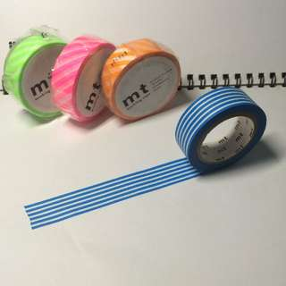 mt 分裝 和紙膠帶 紙膠帶 天空藍 橫紋 Masking Tape Border Sky B