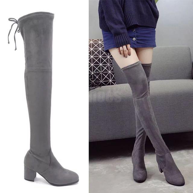 灰色彈力絨過膝長靴灰色35