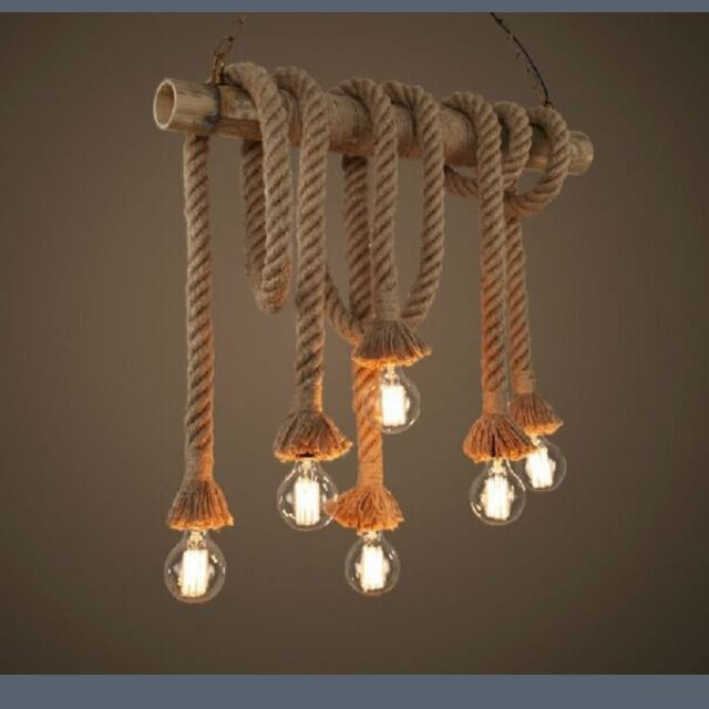 Heads Rope Pendant Lights Loft Lamp