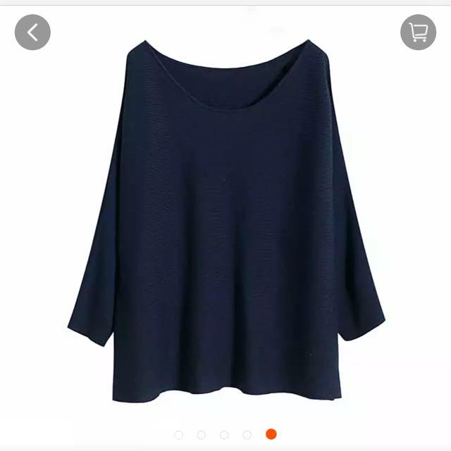 超柔軟寶藍七分袖寬鬆毛衣