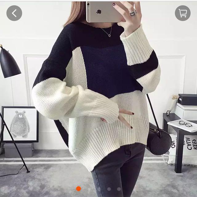 全新 韓版寬鬆撞色拼接毛衣