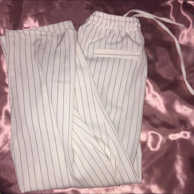白色條紋七分寬褲