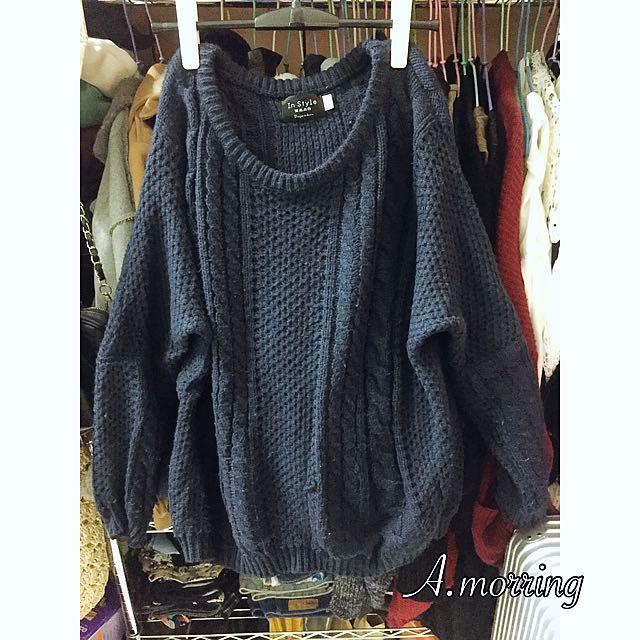 深藍色針織毛衣