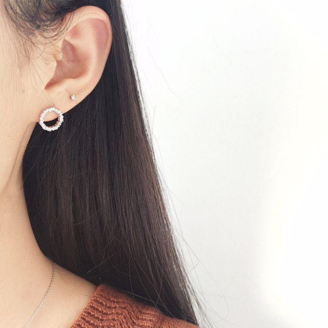 純銀藍色大海的傳說全智賢同款耳釘鑲鑽耳環