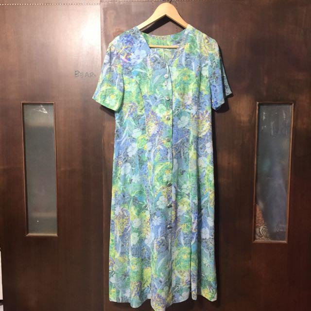 復古 古著 長版 花 洋裝