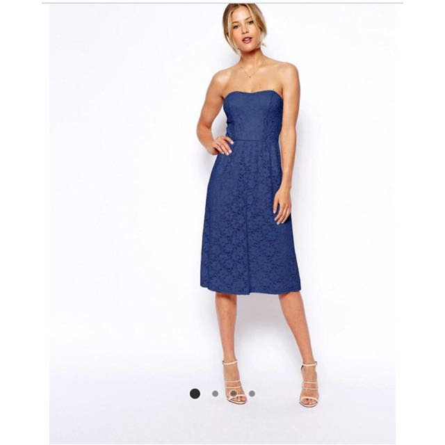 Asos Navy Lace Bandeaus Dress