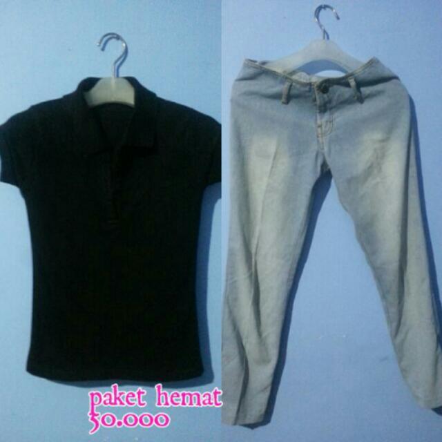 Baju Kerah Hitam & Jeans Blue