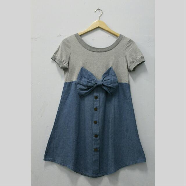 Big Bow Tie Denim Tshirt
