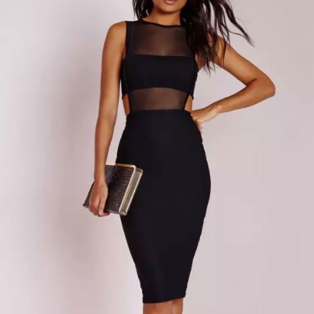 Black Cut Out Midi Dress - 12