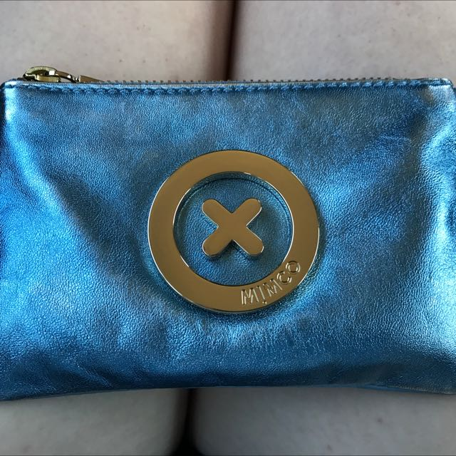 Blue Leather Mimco Pouch