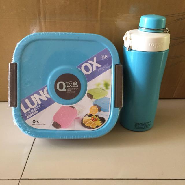 blue lunch box & lock n lock termos