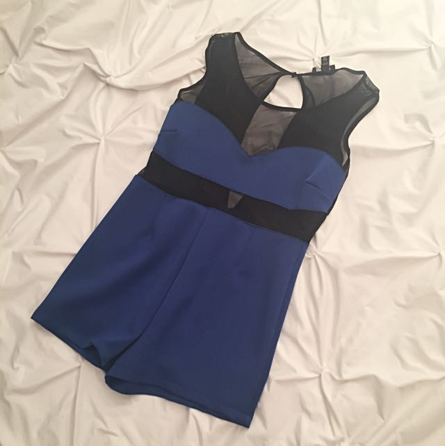 Blue Romper With Mesh Waist/shoulders