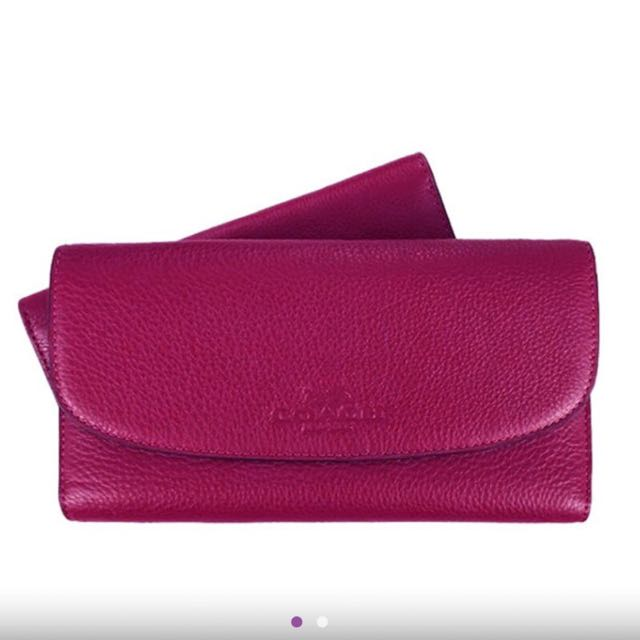 COACH經典壓印logo皮革翻蓋壓釦式長夾 附活動式鈔票夾(紫紅)