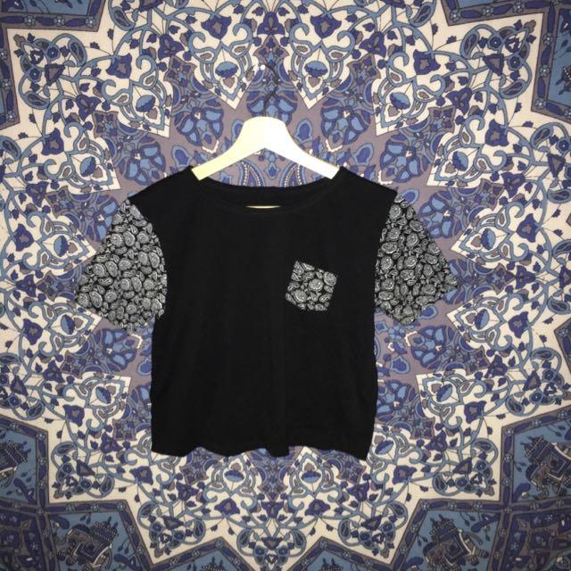 cropped paisley tshirt