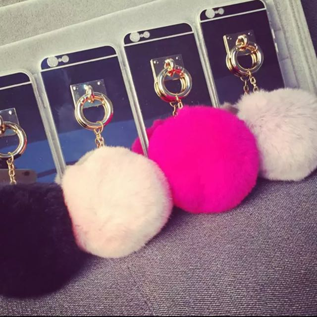 CUTE TRENDY IPHONE FUR BALL CASE, ALL IPHONE 5 TO 7+