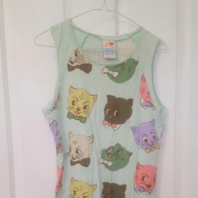 Drop Dead Evil Kitty Cat Thirteen Style Dress or Tunic