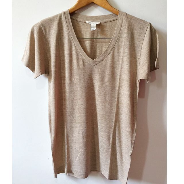 F21 Basic V-Neck Shirt (LIGHT BROWN)